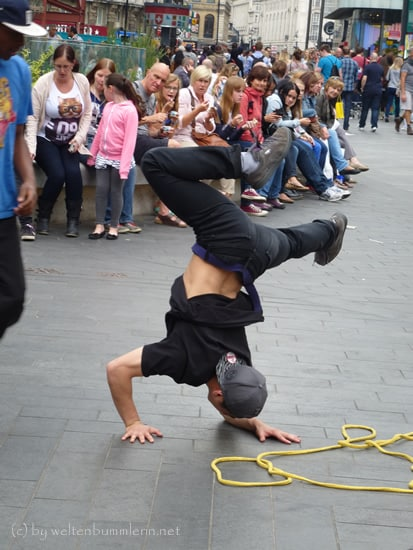 Breakdancer am Leicester Square, London